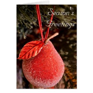 赤いナシのクリスマスカード グリーティングカード