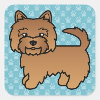 赤いノリッジテリアの漫画犬 スクエアシール