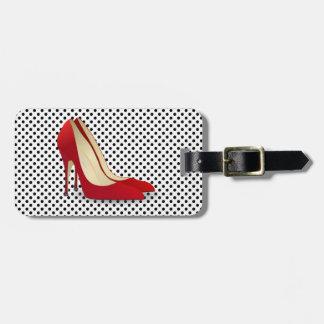赤いハイヒールの靴の荷物のラベル ラゲッジタグ