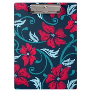 赤いハイビスカスによって印刷される刺繍 クリップボード