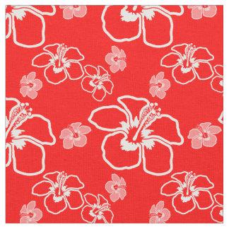 赤いハイビスカスのハワイアン ファブリック