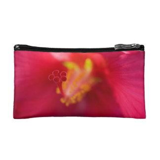 赤いハイビスカスの付属品袋 コスメティックバッグ