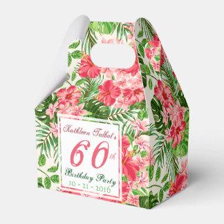 赤いハイビスカスの第60誕生会の好意箱 フェイバーボックス