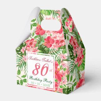 赤いハイビスカスの第80誕生会の好意箱 フェイバーボックス