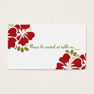 赤いハイビスカスの結婚式のテーブルの座席表 名刺