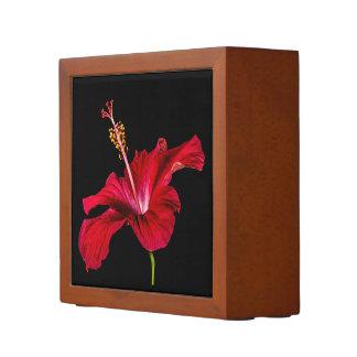 赤いハイビスカスの花のサイド前部眺めの机のオルガナイザー ペンスタンド
