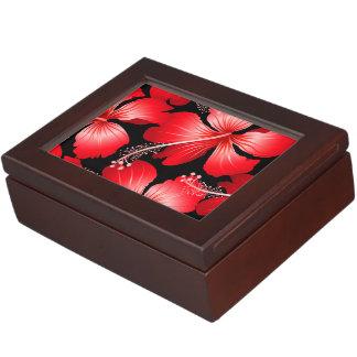 赤いハイビスカスの花 ジュエリーボックス