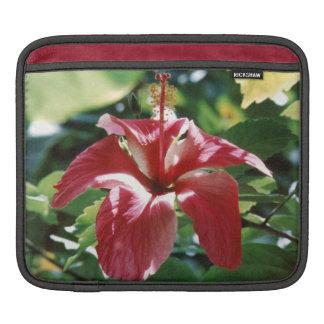 赤いハイビスカスのiPadの袖 iPadスリーブ