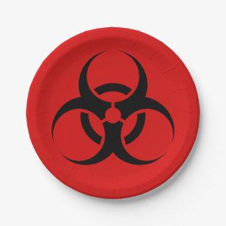 """赤いハロウィンの生物学的災害[有害物質]の記号及び黒7"""" ペーパープレート"""