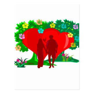 赤いハートおよび花のカップル ポストカード