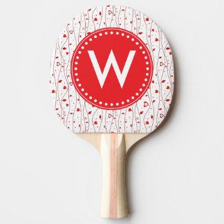 赤いハートのつる植物 卓球ラケット