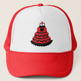 赤いハートのゴシック様式ケーキ キャップ