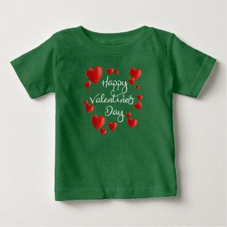 赤いハートのハッピーバレンタインデー|のワイシャツ ベビーTシャツ