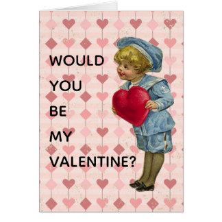 赤いハートのバレンタインが付いている青のNostalgcの男の子 カード