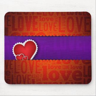 赤いハートのペーパークラシックなバレンタインs日 マウスパッド