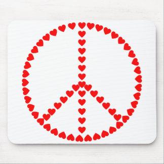 赤いハートの円形のピースサイン マウスパッド
