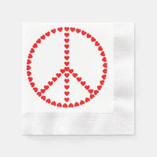 赤いハートの円形のピースサイン 縁ありカクテルナプキン