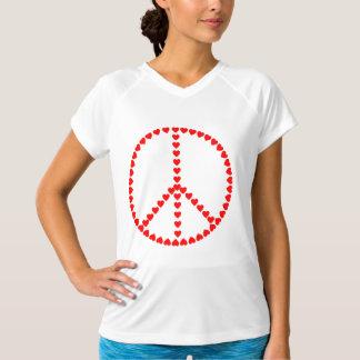 赤いハートの円形のピースサイン Tシャツ