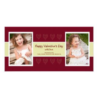 赤いハートの写真のバレンタインカード カード