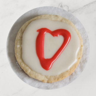 赤いハートの切り出しのクッキーのjjheleneの装身具の皿 トリンケットトレー