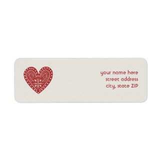 赤いハートの切り出しのバレンタインの宛名ラベル ラベル