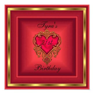 赤いハートの宝石の金ゴールドのエレガントな第21誕生会 カード