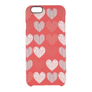 赤いハートの民芸のコラージュ クリアiPhone 6/6Sケース