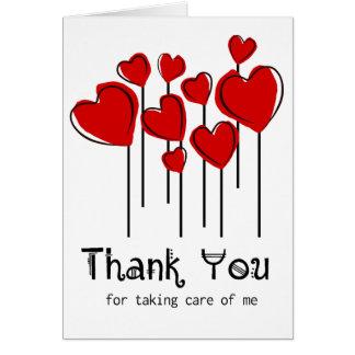 赤いハートの気球はNotecardナース感謝していしています カード