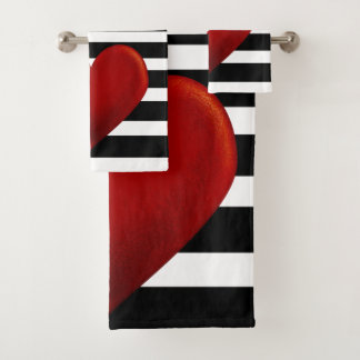 赤いハートの白黒のストライプ バスタオルセット