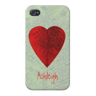 赤いハートの葉のカスタムなiPhone4箱 iPhone 4/4S Cover