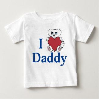 赤いハートを持つバレンタインデーのかわいく白い犬 ベビーTシャツ