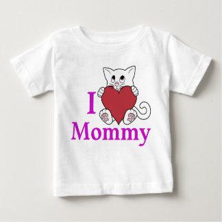 赤いハートを持つバレンタインデーの白い猫 ベビーTシャツ