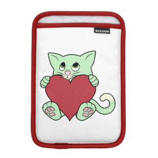 赤いハートを持つバレンタインデーの緑猫 iPad MINIスリーブ
