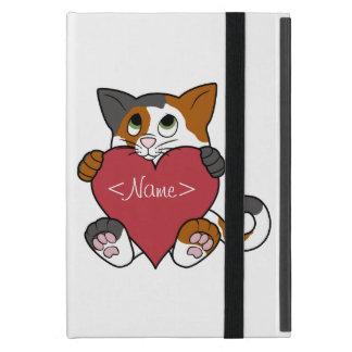 赤いハートを持つバレンタインデーの茶色のぶち猫 iPad MINI ケース