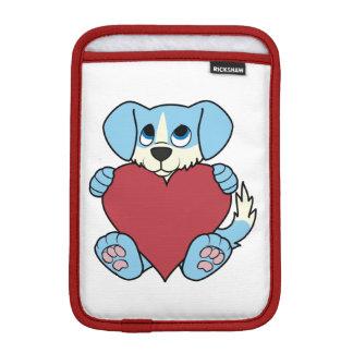 赤いハートを持つバレンタインデーの青い犬 iPad MINIスリーブ