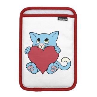 赤いハートを持つバレンタインデーの青猫 iPad MINIスリーブ