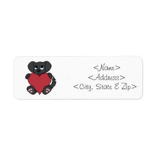 赤いハートを持つバレンタインデーの黒の小犬 ラベル