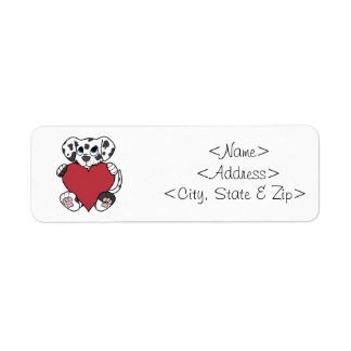 赤いハートを持つバレンタインデーのDalmatian犬 ラベル