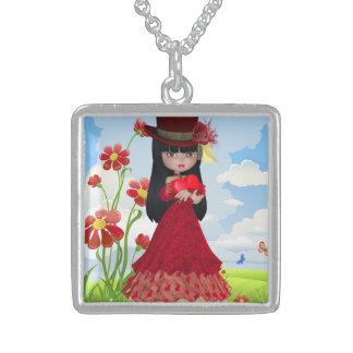 赤いハートを握っているすばらしいブルネットの女の子 スターリングシルバーネックレス