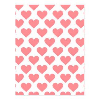 赤いハートパターン ポストカード