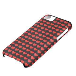 赤いハートパターン iPhone5Cケース