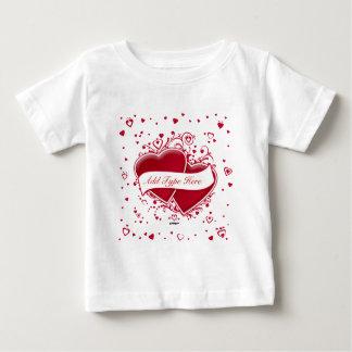 赤いハート-タイプを加えて下さい ベビーTシャツ