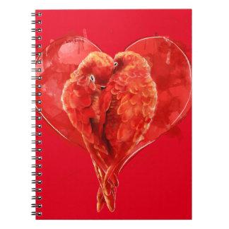 赤いハート。 愛情のあるオウム ノートブック