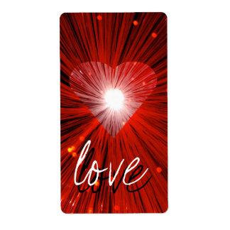 赤いハート「愛」ラベル ラベル