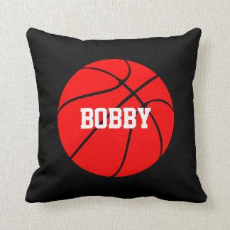 赤いバスケットボールカスタムなプレーヤーの名前の装飾用クッション クッション