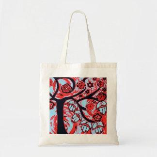 赤いバッグJudaica Hamsaの生命の樹 トートバッグ