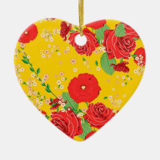 赤いバラおよびケシのオーナメント 陶器製ハート型オーナメント