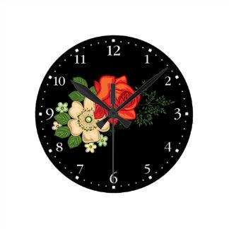 赤いバラおよびデイジーClockface 1 ラウンド壁時計