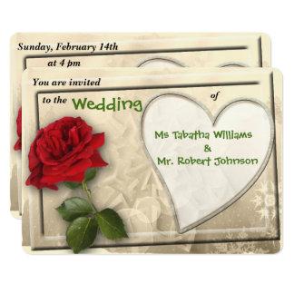 赤いバラおよびハートのデザインの結婚式招待状 カード
