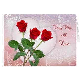 赤いバラおよびハートの妻のためのバレンタインのカード カード